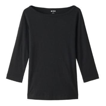 <スリードッツ>七分丈ボートネックTシャツ