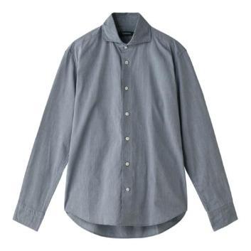 <エアディム>無地 ワイドカラーシャツ ネイビー
