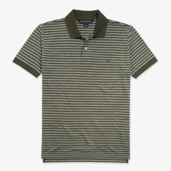 <ANAショッピング><ブルックス ブラザーズ>GF ライトウェイトコットンピケ テキスチャードストライプ ポロシャツ Slim Fit グリーン