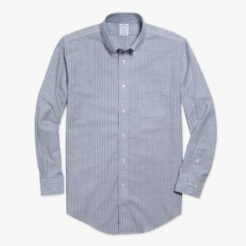 <ブルックス ブラザーズ>NON-IRON BROOKSCOOL スーピマコットン グランドストライプ スポーツシャツ Regent Fit ネイビー