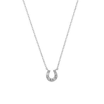 <VAヴァンドーム青山>K10WGダイヤモンド馬蹄ネックレス