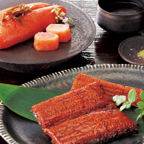 「ぎおん割烹なか川」うなぎ蒲焼と柚子風味の明太子セット