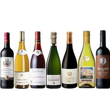 【送料無料】シャンパン入り金賞受賞フランス7大生産地ワインセット