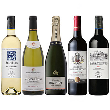 機内ワインが2本入った、フランス周遊・赤・白・泡5本セット