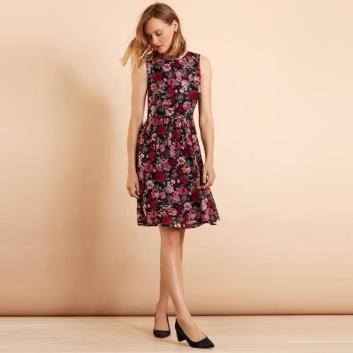 <ブルックス ブラザーズ>Red Fleece レーヨン ジョーゼット フローラルプリント ノースリーブドレス
