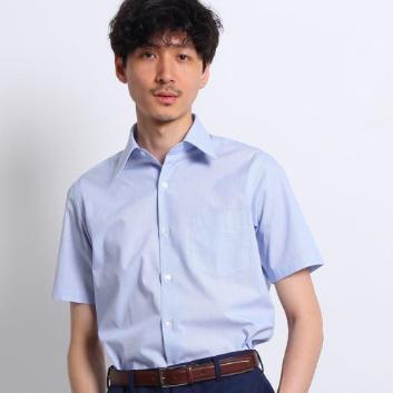 <タケオキクチ>[イージーケア 半袖]ブルービジネスシャツ