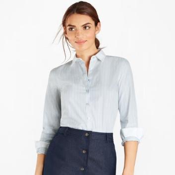 <ブルックス ブラザーズ>ノンアイロン ストレッチコットン ワイドストライプ クレリックドレスシャツ Fitted Fit