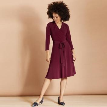 <ブルックス ブラザーズ>Red Fleece ポリエステル ストレッチジャージ カシュクール 3/4スリーブニットドレス