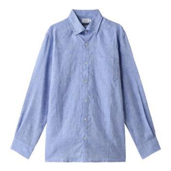 <ジム>麻100%シャンブレーボタンダウンシャツ