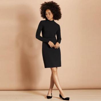 <ブルックス ブラザーズ>Red Fleece ストレッチクレープジャージー サイドギャザー ニットドレス