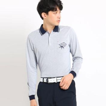 <アダバット>【吸水速乾】胸ポケット付きストライプ長袖ポロシャツ