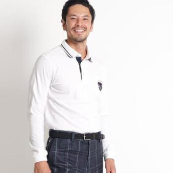 <アダバット>【吸湿発熱】胸ポケット付き長袖ポロシャツ