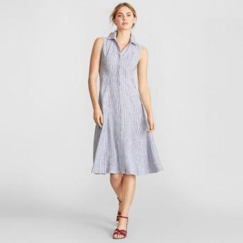 <ブルックス ブラザーズ>リネン ストライプ スパゴカラー ノースリーブシャツドレス