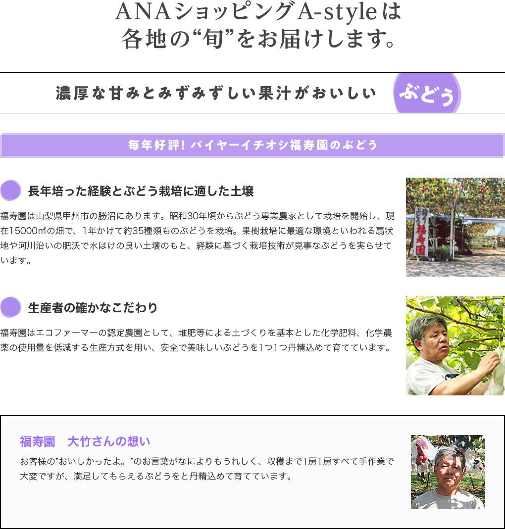 """ANAショッピング A-styleは各地の""""旬""""をお届けします。 濃厚な甘みとみずみずしい果汁がおいしいぶどう 毎年好評! バイヤーイチオシ福寿園のぶどう"""